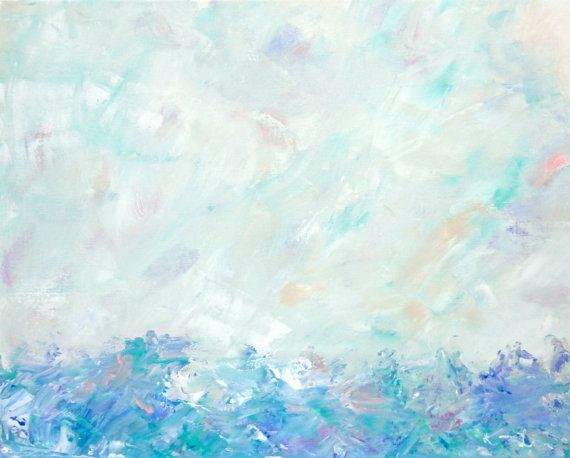 Landscape painting minimalist abstract art soft colors for Pastel teal paint