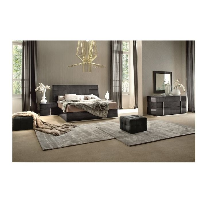 This Bedroom Set Looks Very Sleek With The Short Black Bed