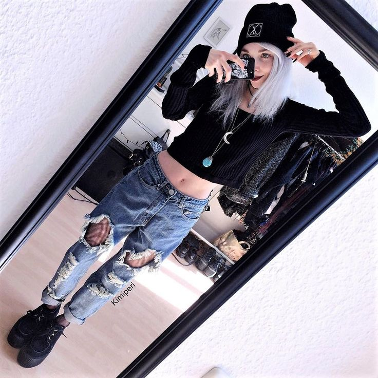 Beanie, knitted long sleeve top, necklace, ripped denim & creepers shoes by kimiperi #grungeoutfits