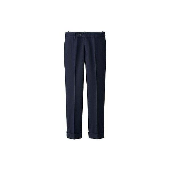 UNIQLO Ines Flannel Straight Trousers (50 CAD) ❤ liked on Polyvore featuring pants, flannel trousers, fold over pants, foldover pants, blue pants and straight pants