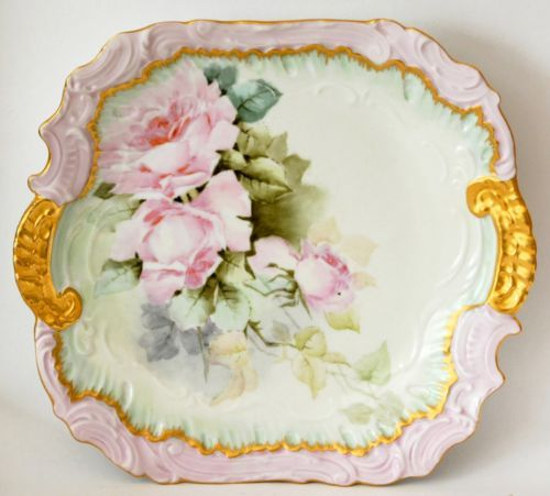 HAND PAINTED ROSES CAKE PLATE