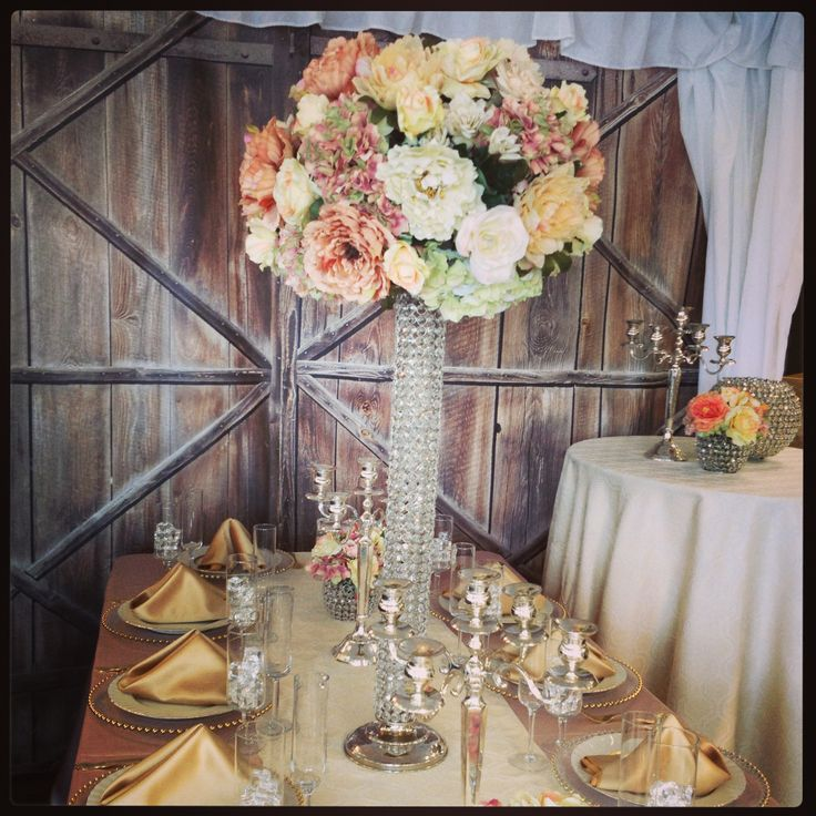 19 best silk flowers paul fenner floral design images on pinterest silver candelabras and bling pedestsl with compact english garden theme flowers in peaches cream using silkpermanent botanicals flowers mightylinksfo