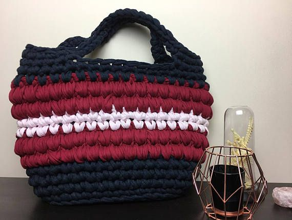 Large Navy Burgundy and Pastel Pink Market Bag  Beach Bag