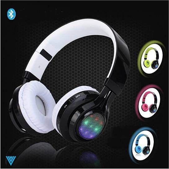 Disco Scene Glow In The Dark LED Bluetooth Headphones.. These headphones are Bluetooth-enabled and they glow in the dark with bright neon inner colors..! The soft padded earmuff and almost sound proof