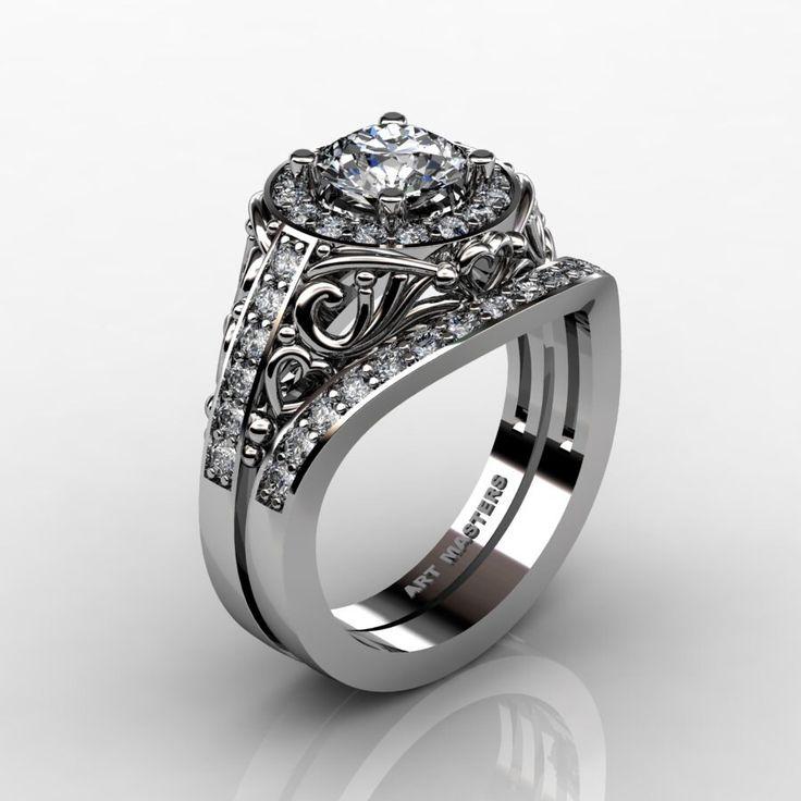 Classic Italian 14K White Gold 1.0 Ct White Sapphire Diamond Engagement Ring Wedding Band Set R280S-14KWGDWS by DesignMasters on Etsy https://www.etsy.com/listing/211506893/classic-italian-14k-white-gold-10-ct
