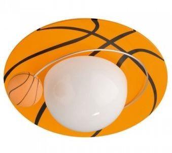 Plafón techo naranja pelota básquet.