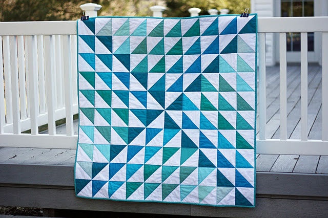 hst - half square triangle quilt  (like the values on this--would be fun to try with multicolor scraps)