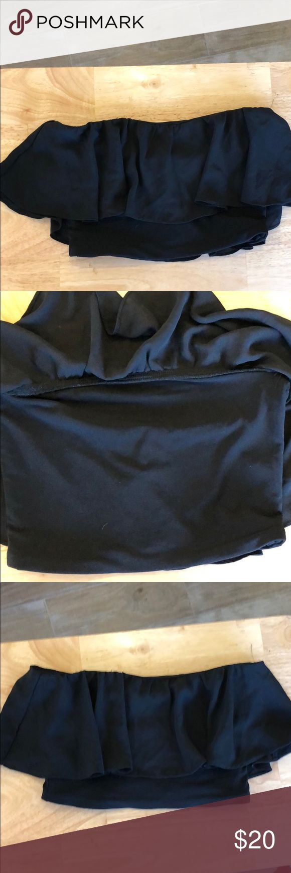 Brand new black  bandeau top by Aqua bandeau Brand new black top by Aqua  Has ruffle around top Retail price $48 Aqua Swim Bikinis