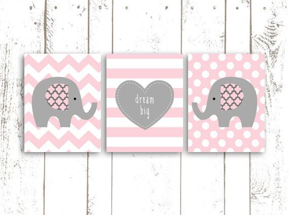 Elephant Art Print, Nursery Printable, Pink and Grey Elephants with Quote, Dream Big, Chevron, Stripes and Polka Dots