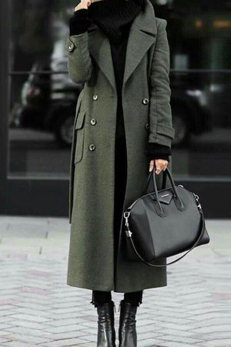 Description ProductName Green Trench Coat With Turn-Down Collar Elegant Wool C... 3