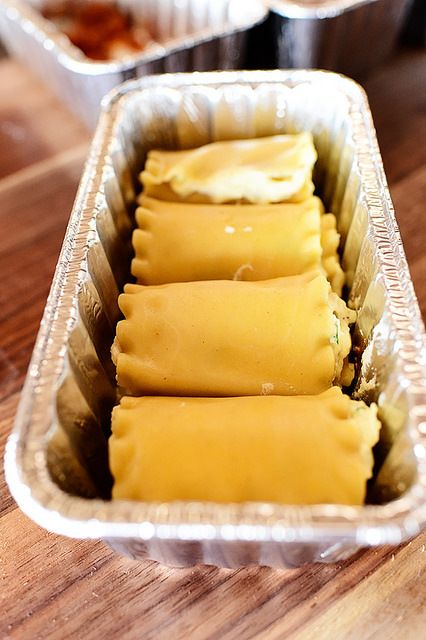 Lasagna Rollups :: Make two-person portions, cover with foil & freeze. Bake covered at 350 for 30 minutes, then remove foil and bake for an additional 10-15 minutes.