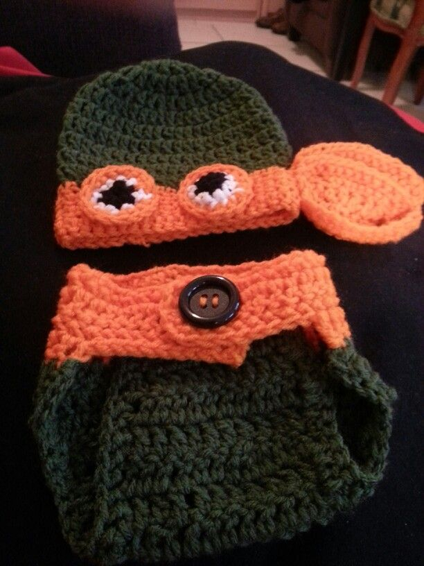 Ninja turtle beanie and diaper cover for Smitty