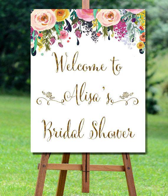 Bridal Shower Welcome Sign, Bridal Shower Sign, Floral Bridal Shower Welcome, Baby Shower Welcome Sign, Floral Bridal Shower Welcome Sign