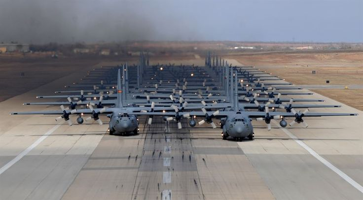 So you wanna move some troops and cargo? Last guy in line gets the prop wash. Hang on Sloopy! Eleven C-130H Hercules' and 13 C-130J Super Hercules' prepare to take off. from Dyess Air Force Base, Texas.