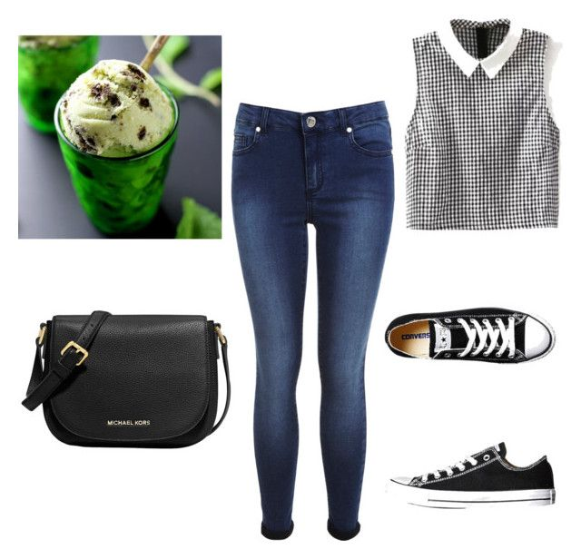 """""""Ice cream outing outfit"""" by simplycinderella ❤ liked on Polyvore featuring Converse, Miss Selfridge and MICHAEL Michael Kors"""