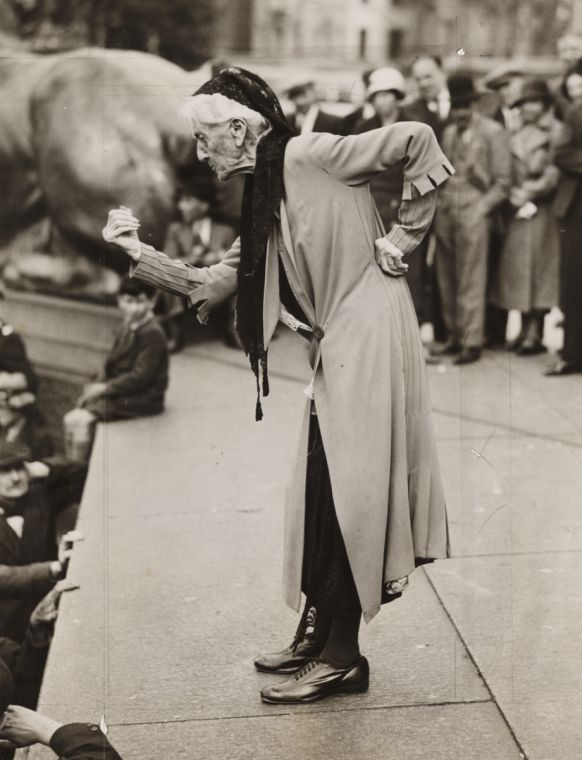 Charlotte Despard (1844-1939), speaking at an anti-fascist rally in Trafalgar Square, London, taken in June 1933 by James Jarché. Despard was a suffragist, novelist who devoted a lot of her time and money to helping the poor in Battersea. She lived above one of her welfare shops in one of poorest areas of Nine Elms.