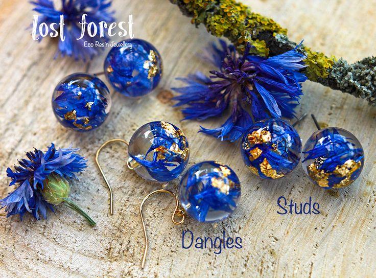 Blue Cornflower & Gold Leaf Eco Resin Earrings (Lost Forest)