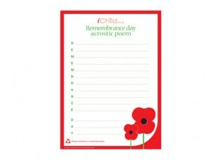 This printable acrostic poem template can be used to encourage your child to write a poem for Remembrance Day.