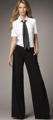Tie with wide leg pants...adore this...