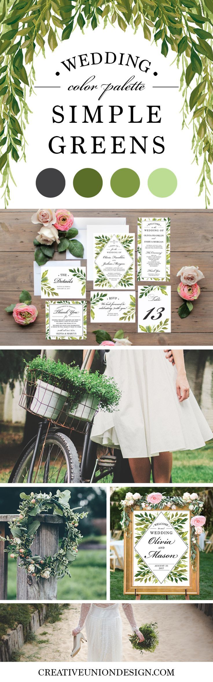 2017 Wedding Trends - Greenery! 2017 Wedding Color Palette. Popular Wedding Theme.
