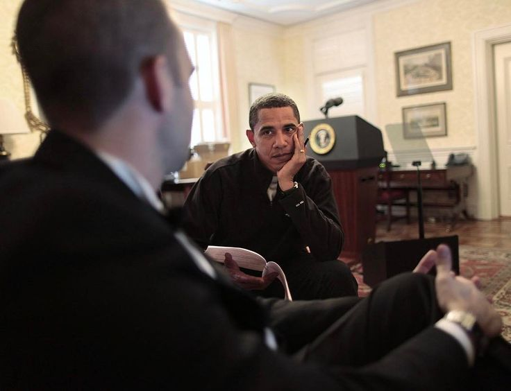I just came across this picture as I was looking back through some early photographs. It was taken at the Blair House a day or two before the inauguration in 2009. He was talking to his then chief speechwriter, Jon Favreau, about his inaugural address. Although I had already known him for four years, the idea of me photographing his every move hadn't settled in--for both of us. So I was trying to ease into it: make a few pictures here and there, and then back off.
