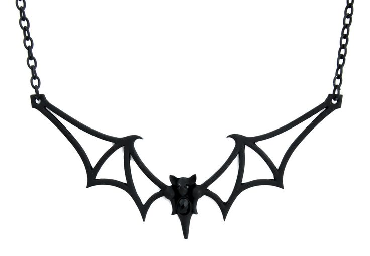 Black Tribal Gothic Vampire Bat Necklace Deathrock Rockabilly Dracula Halloween