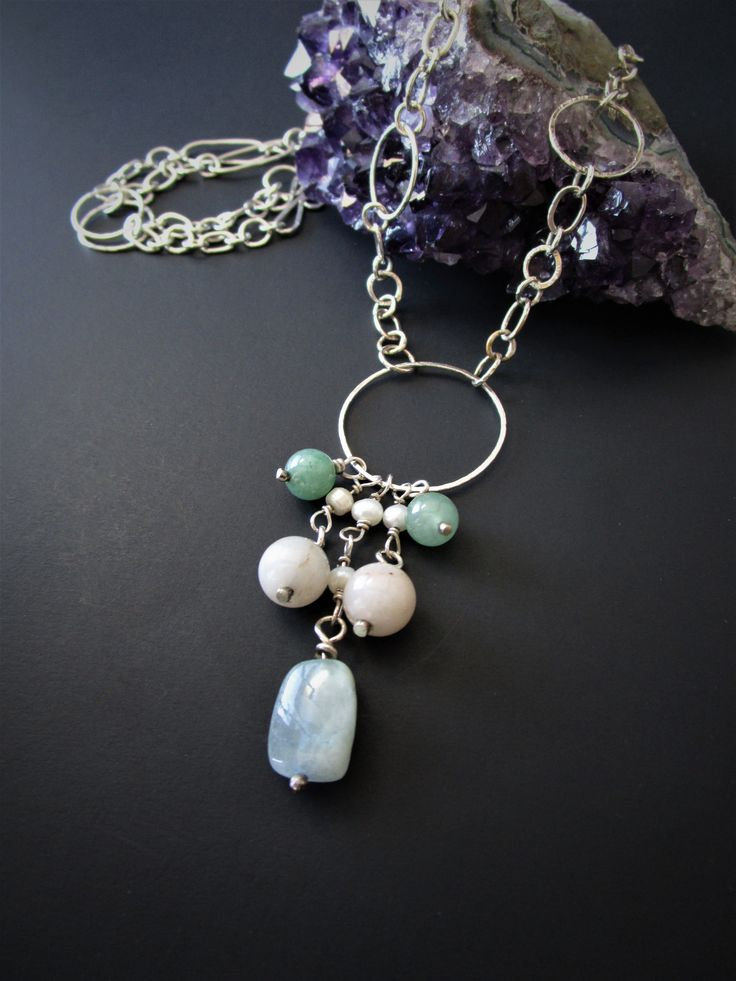 Beautiful Boho Sterling Silver Necklace. Featuring Aquamarine, pearl, Quartz and Aventurine stones. Handmade Sterling silver chain. Click image to purchase through Etsy!