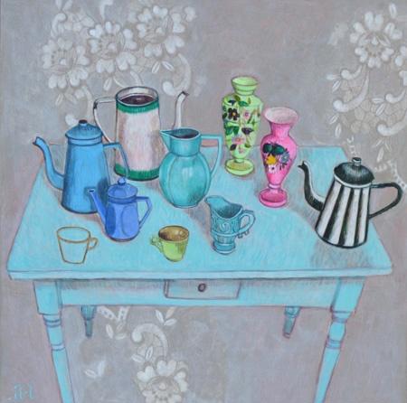 Andrea Letterie, Kannetjes op blauwe tafel, Gemengde technieken op paneel, 60x60 cm, €.950,-  Galerie Art a Casa, Amsterdam