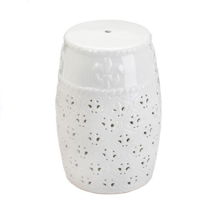 Fleur-De-Lis Ceramic Stool