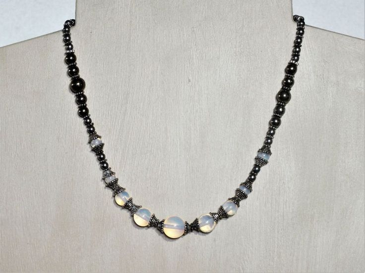Empress Necklace - Opalite and Pyrite