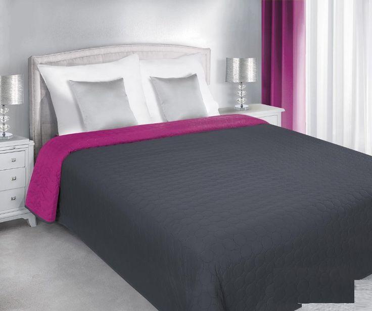 Narzuty dwustronne na łóżko w kolorze grafitowo amarantowym