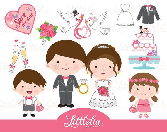 Happy couple clipart  Wedding clipart  15062 by LittleLiaGraphic
