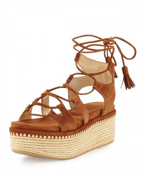 Stuart+Weitzman+Romanesque+Lace+Up+Platform+Sandals+Saddle+Women's+9b+|+Shoes+and+Footwear