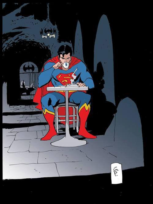 Superman enjoying coffee and a smoke in the Batcave. Art by Goran Parlov