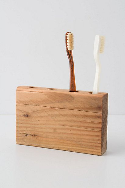 Wooden Block Toothbrush Holder | Anthropology