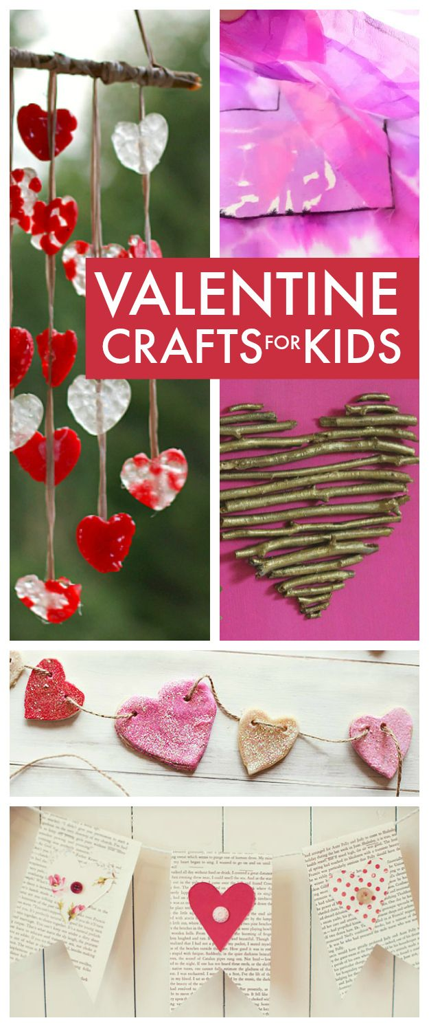Valentines Day crafts for kids ... simple but lovely Valentines Day crafts for kids, everything from playdough and clay to bunting and wind chimes plus secret Valentines Day love potion ...