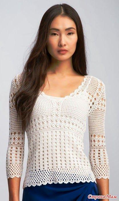 Filet crochet shirt! CARAMELO ARDIENTE es... LA PRINCESA DEL CROCHET: filet blanco