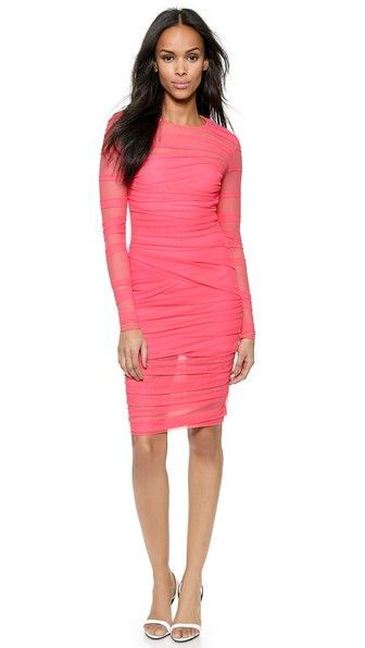 Versace Сетчатое платье с длинными рукавами