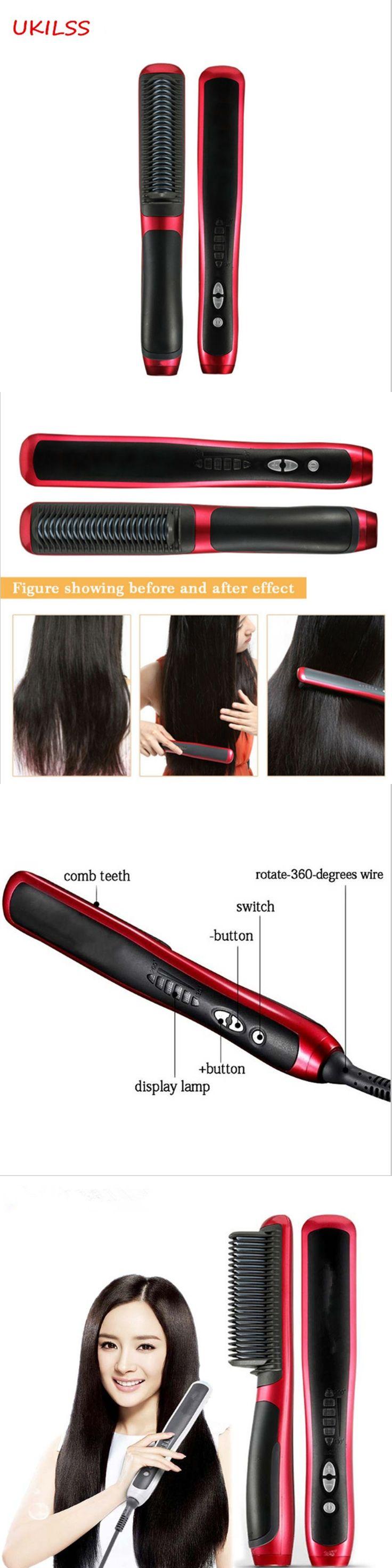 2017 NewView Professional Ceramic Electric Hair Straightener Brush Detangling Hair Straightening Iron Comb Smooth Brush Styling
