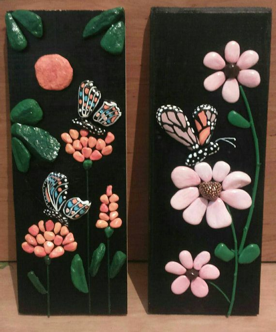 Butterfly Flowers Handpainted Pebble Art Stone by StefArtNatural