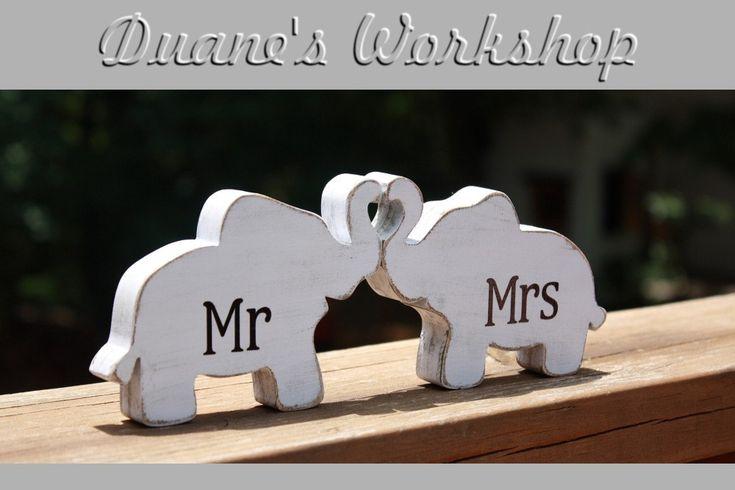 Mr & Mrs Elephants in love, elephant trunk heart, Mr and Mrs, wedding decoration, home decor, nursery decor,shabby chic. $16.00, via Etsy.