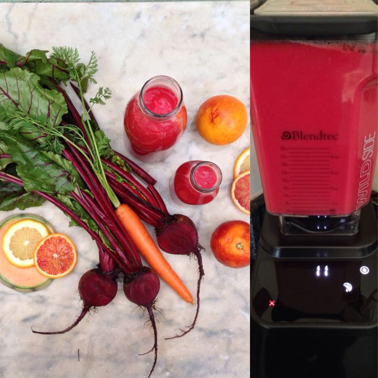 Scarlet juice made with beetroot, carrots, citrus and a little canteloupe