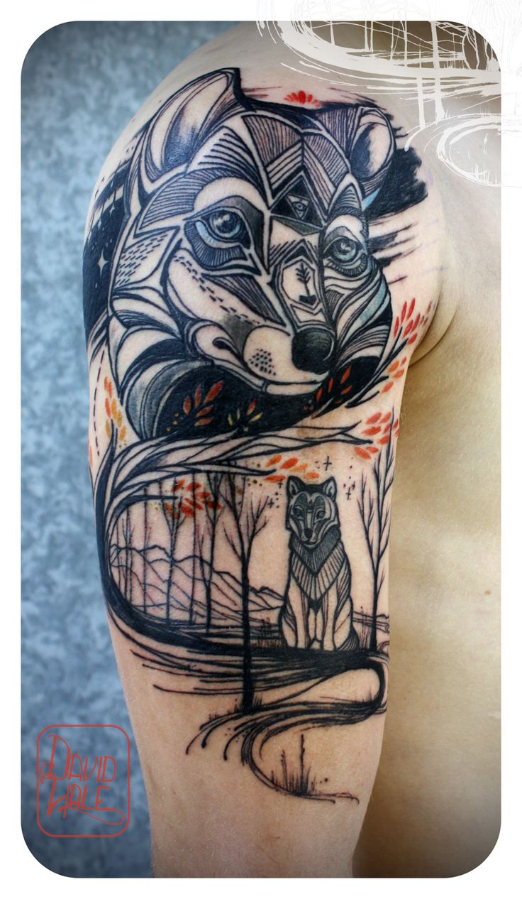 If you decide to get a tattoo look at the image of a fox this animal - Wolf Half Sleeve Tattoos Black Ink Wolves In Woods Tattoo On Half