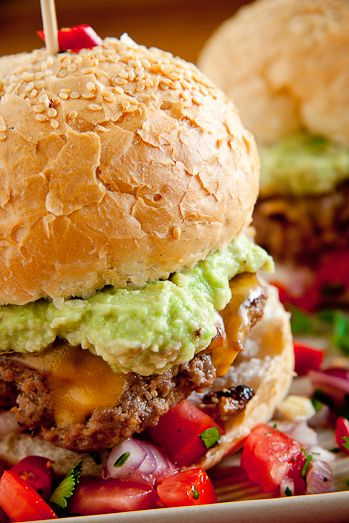 Mexican Cheeseburgers with Homemade Guacamole and Salsa....