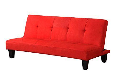 Pilaster Designs  Tufted Design Red Microfiber With Adjustable Back Klik Klak Sofa Futon Bed Sleeper