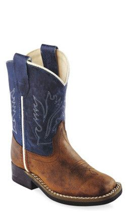 Old West Snuffed Blue Toddler Boys Leather Broad Square Toe Cowboy Boots