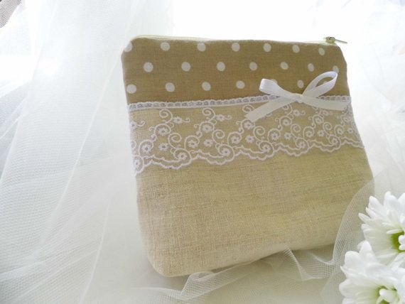 Linen Cosmetic Pouch Linen And Lace Make by MelindasSewingCorner