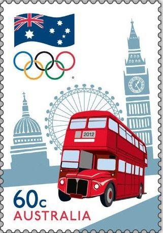 Australie, timbre des Jeux Olympiques Londres 2012 © DR.