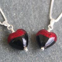 Murano glass earrings in Red and Black