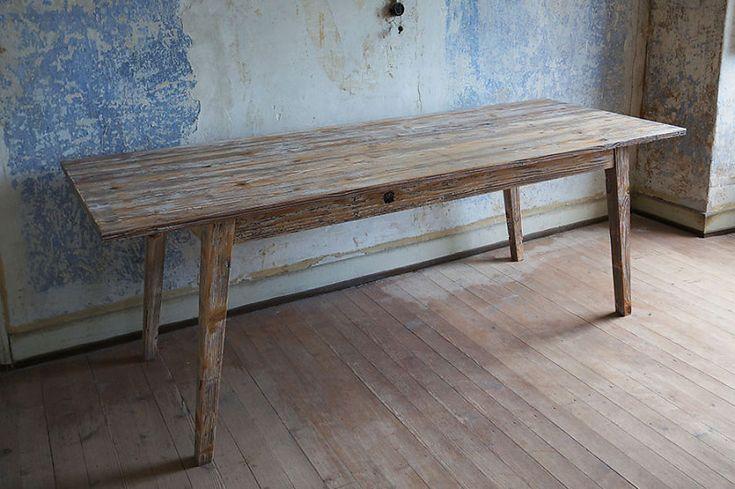 Solenn Design Tisch Knorke 03, Maße 2180 x 840 x 765 mm, extrafeine Holz-Sortierung, London Clay